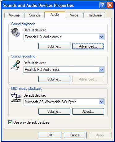 Audio Default Device
